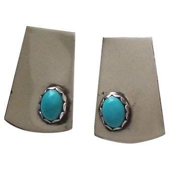 Sleek Mid Century Modern Sterling Silver and Turquoise Earrings
