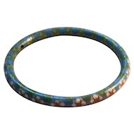 Vintage Shades of Blue and Pastel's Rolled Edge Cloisonne Bangle Bracelet