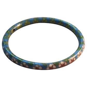 Vintage Shades of Blue and Pastel's Rolled Edge Cloisonne Bangle Bracelet