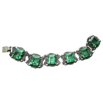 Vintage Mexico Silver Faceted Green Glass Filigree Panel Bracelet