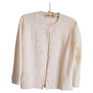 Vintage Ladies Cashmere Button Down Sweater with Pearls and Beads by REEF Hawaii