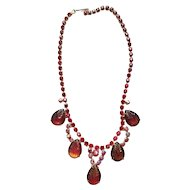 Beautiful Vintage AB Red Rhinestones and Fall Colors Choker Necklace