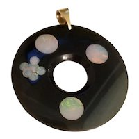 Vintage Modernist New Zealand Jade Circle Pendant with inlaid Australian Opals