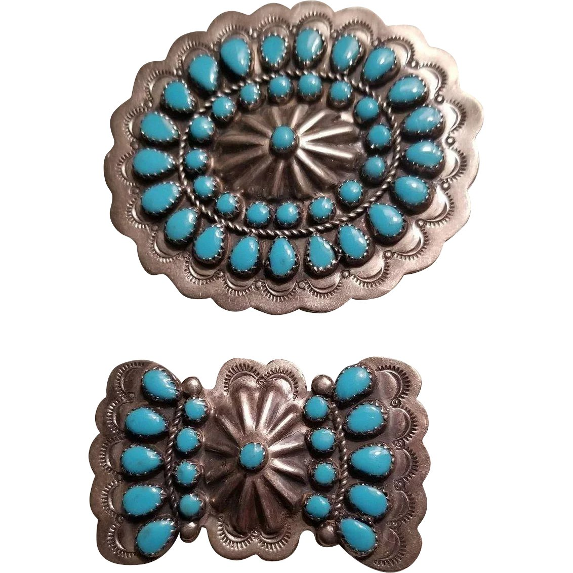 7ea306dc7 Pair of Vintage Turquoise and Silver Southwestern Conchos : Westwood Farms  | Ruby Lane