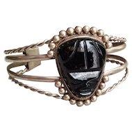 Vintage Alpaca Silver and Black Onyx Aztec Mask Cuff Bracelet Mexico