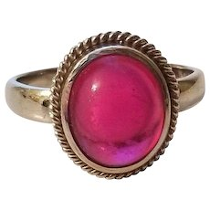 Vintage Retro 9k White Gold English Ruby Red Paste Ring