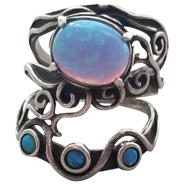 a3d28c819 Vintage Shablool Didae Sterling Silver Ring Blue Opal Israel : Westwood  Farms | Ruby Lane