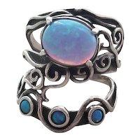 Vintage  Shablool Didae Sterling Silver Ring Blue Opal Israel