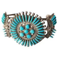 Vintage BW Zuni Needlepoint Turquoise and Sterling Silver Cuff Bracelet
