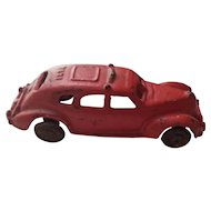 Vintage Red Cast Iron Taxi Cab Toy Car