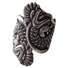 Vintage Taxco Mexico Ornate Sterling Bypass Bracelet