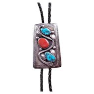 Early Zuni Mike Simplicio Sterling silver bolo Tie Coral & Turquoise Snake Design