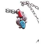 Simplicio Zuni Sterling Silver Turquoise & Coral Pendant with chain