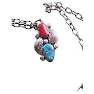 Simplicio Zuni Sterling Silver Turquoise & Coral Pendant with chain