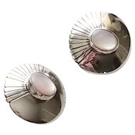 Vintage Sterling Silver Native American signed Mother of Pearl Clip Back Earrings