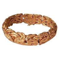 Vintage Heavy 14k Gold Wide  Byzantine Bracelet Italy