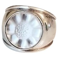Vintage Lalique Glass & Sterling Silver Flower Ring size 5 1/2