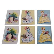 Sweet Vintage Set of Curran Creations Bridge Tally Cards, Ladies