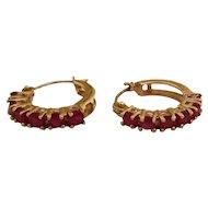 Vintage 14k Gold & Ruby Hoop Earrings