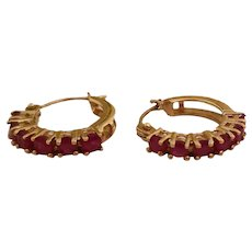 Vintage 14k Gold & Ruby Hoop Earrings