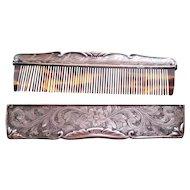 Vintage  Sterling Silver & Tortoise Comb & Case