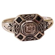 Vintage Sterling Silver Sapphire & Diamond Art Deco Ring