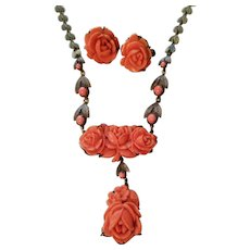 Vintage Faux Salmon Coral Rose Demi Parure Necklace & Earrings set