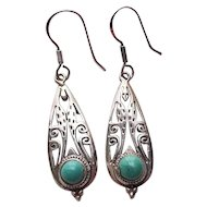 Vintage Southwestern Sterling Silver & Turquoise Dangle Earrings