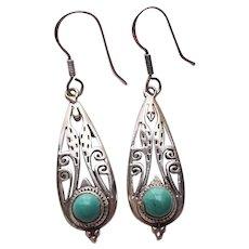 Vintage Southwestern Sterling Silver & Turquoise Dangle Earrings