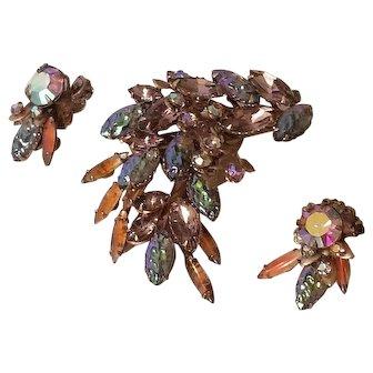 Vintage Fruit Salad Rhinestone Brooch & Earrings Set
