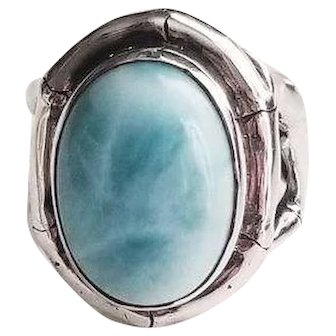 Vintage Larimar Turquoise & Sterling Silver Ring with Bamboo design