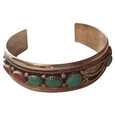 Vintage Navajo Sterling Coral and Turquoise Cuff Bracelet