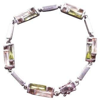 Vintage Modernist Sterling Link Bracelet Pink & Green Tourmaline, Amethyst