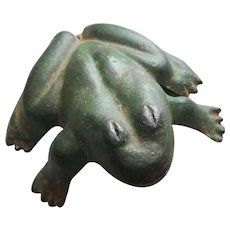Vintage Cast Iron Frog Paperweight Original Paint