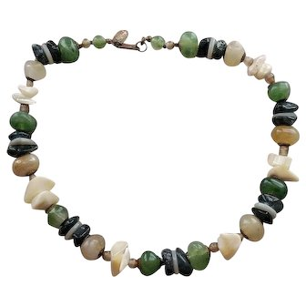 Miriam Haskell Chunky Faux Jade and Agate Stone Necklace