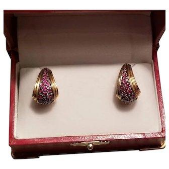 Vintage 14k Gold over Sterling Ruby Earrings