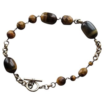 Vintage Ellen Tracy Tigers Eye choker with Toggle Clasp