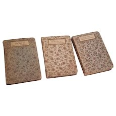 Set of Three Miniature French Floral Cloth Cover Books
