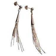 Vintage Sterling Liquid Silver Dangle Earrings