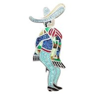 Vintage Taxco Mexico Sterling Silver and Enamel Mexican Dancer with Sombrero Brooch