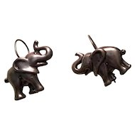 Sterling Silver Elephant Earrings Pierced