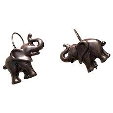 Sterling Silver Elephant Earrings Pierced