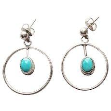 Sleek Vintage Sterling Silver & Turquoise Dangle Earrings