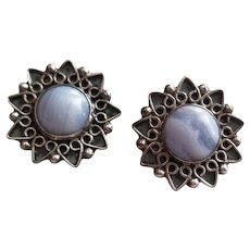 Vintage Sterling Silver & Blue Lace Agate Filigree Earrings Mexico Signed