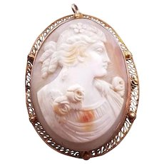 Antique Lady Cameo Pendant Brooch in 10k Yellow Gold