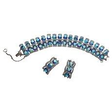 Brilliant Blue Vintage AB Crystal & Rhinestone Bracelet & Earrings Set