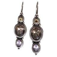 Vintage Sterling Silver Three Stone Jeweled Earrings Topaz, Citrine & Amethyst