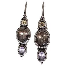Vintage Sterling Silver Three Stone Jeweled Earrings Topaz, Citrine & Amethyst