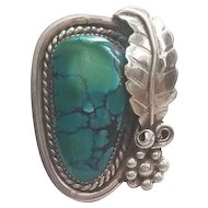Superb Sterling Silver & Turquoise Navajo Ring