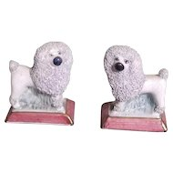 Antique Miniature Staffordshire Poodle Dogs on Bases